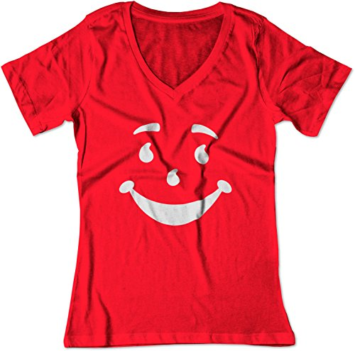 BSW Women's Parody Cool Man Smile Face Oh Yeah! Juice V-Neck Shirt MED Red