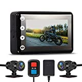 Updated Motorcycle DVR Dash Cam 3.0 inch, Super Starvis Motorcycle Camera, Dual HD 1080P, Waterproof, Video Driving Recorder with WiFi&GPS, 150 Degree Angle, 256G Max(No,SD Card)