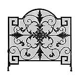YUHUA-SHOP1983 Salvachispas Pantalla de Chimenea de Malla de Metal de Hierro Forjado Negro con diseño Europeo Hueco Tallado W35 × H33.9 × D8.7