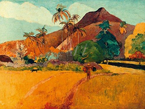 Artland Alte Meister selbstklebendes Poster Paul Gauguin Bilder Tahitische Landschaft 1891 Wandbild Klassische Moderne Gemälde Kunstdruck 60 x 80 cm C2XO