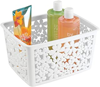 mDesign Plastic Bathroom Storage Basket Bin for Organizing Hand Soaps, Body Wash, Shampoos, Lotion, Conditioners, Hand Towels, Hair Accessories, Body Spray - Large, Floral Design - White