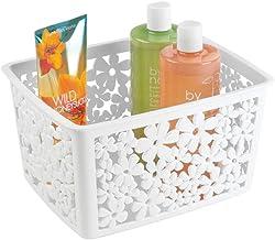 mDesign Bath Basket for Your Bathroom Accessories – Plastic Storage Basket for Bathroom Accessories like Shampoo, Cosmetic...