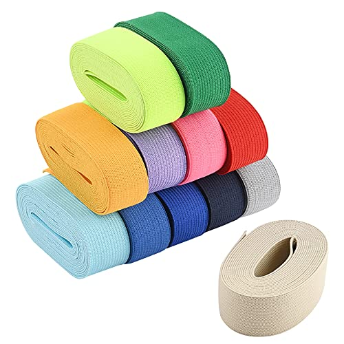 BENECREAT 12 Colors 32.8 Yards Ribbon Elastic 1' Wide Stretch Sewing Craft Elastic Band for Hair Ties Headbands
