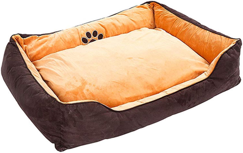 Pet nest Solid color short plush PP cotton mattress Suitable for dogs, cats, etc. Pet nest (color   BROWN, Size   M)
