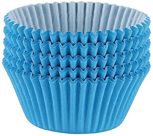 Ghlevo 100 Piezas de Mini Cupcakes alineados con Tazas de Taza Reutilizables antiadherentes Tazas de Pasteles Reutilizables Redondos Muffin Cajas adecuadas para reuniones Familiares Azules