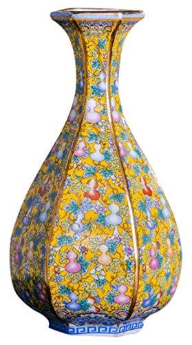 HZYDD Jarrones de cerámica clásica creativa para decoración de flores secas arte hogar salón dormitorio oficina escritorio amarillo 13 x 27.5 cm Accesorios para el hogar