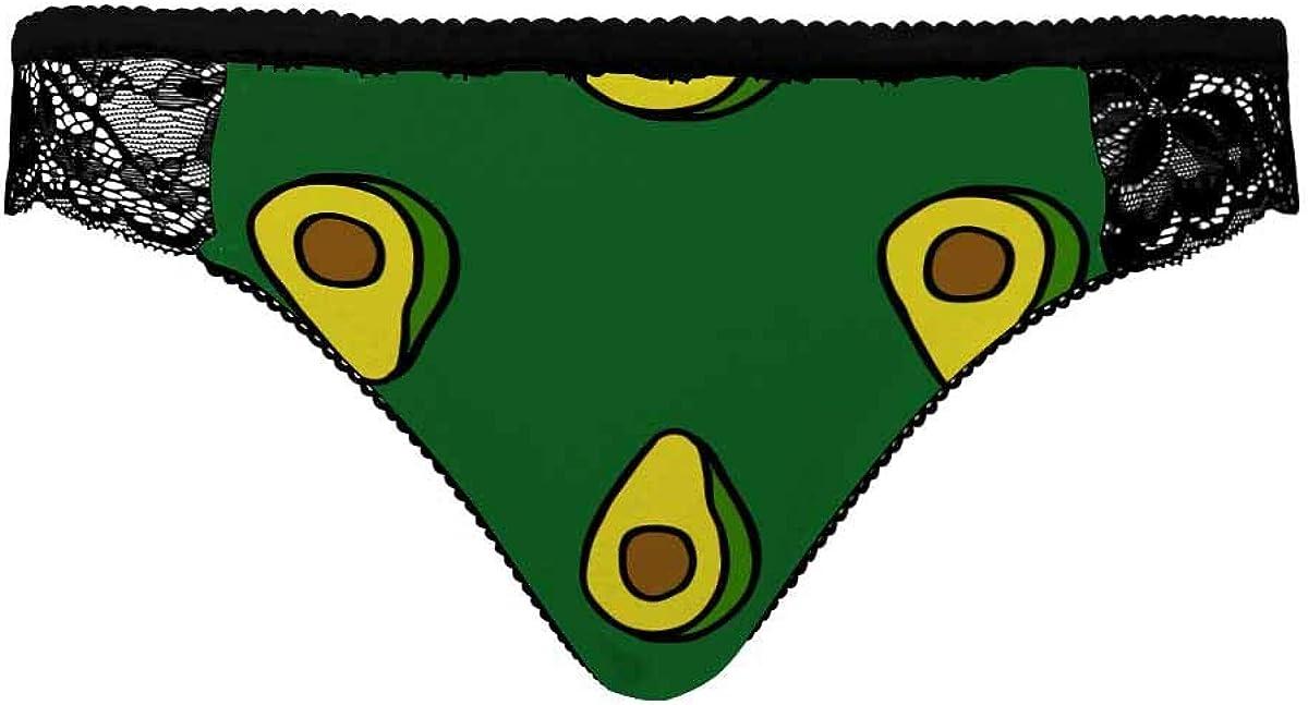 InterestPrint Ladies Low-Waist Bud Silk Comfortable Briefs Avocado Doodle Pattern