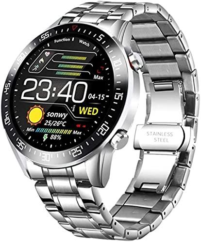 reloj inteligente moda círculo completo pantalla táctil mens relojes inteligentes IP68 impermeable deportes fitness reloj lujo reloj inteligente para hombres-plata