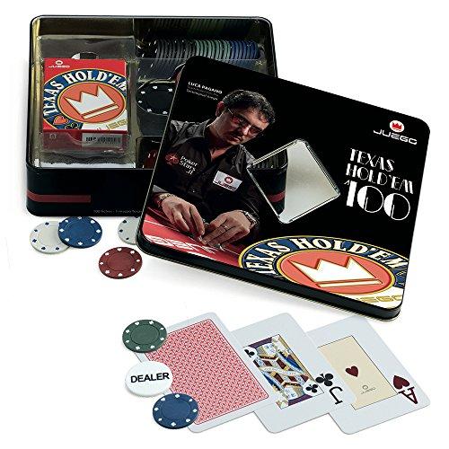 Juego - Texas Hold'em Poker Set inkl. Pokerkarten Deck, 100 Poker Chips 4 gr., Dealer I Kartenspiel I Poker Set - Mehrfarbig