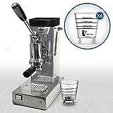 LaGondola Bundle–Máquina Caffe 'Espresso cromado pontevecchio Export y juego 6simpatiche tazas vasos de cristal Made...