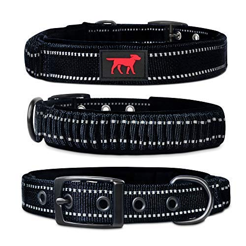 Heavy Duty Dog Collar With Handle | Ballistic Nylon Heavy Duty Collar | Padded Reflective Dog Collar With Adjustable Stainless Steel Hardware | Easy Sizing for All Breeds (Small, Epic Black)