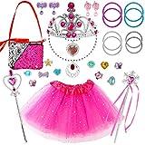 WATINC - 29 joyas de princesa para niñas, accesorios de joyas para niños, tutú, collar, pendientes, pulseras, tiaras, regalo de Navidad para el juego de roles de cumpleaños