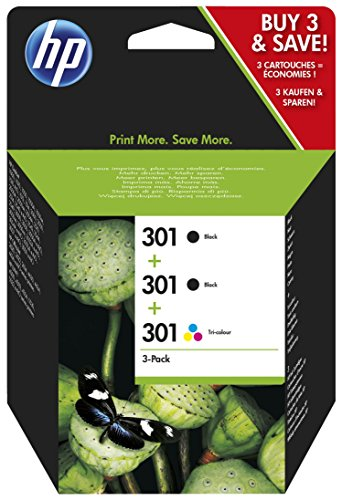 HP 301 E5Y87EE Cartucce Originali, 545 Pagine, per Stampanti a Getto di Inchiostro HP DeskJet 1050, 2540, 3050, HP OfficeJet 2620, 4630 e HP ENVY 4500, 5530, Confezione da 3, 2xNero/1xTricromia
