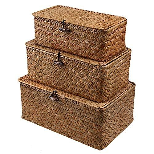 1 cesta de almacenamiento de ratán tejida a mano, cestas de almacenamiento de pastas marinas naturales, cesta de mimbre tejida