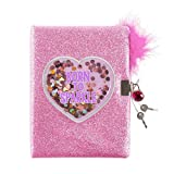 3C4G Born to Sparkle Glitter Confetti Locking Journal with Feather Pen (36037)