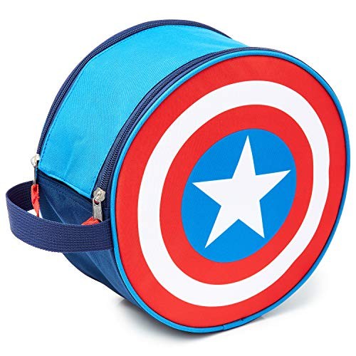 Marvel Neceser Niño, Neceser Hombre del Escudo Capitan America, Neceser Viaje de Los Vengadores, Bolsa Aseo Niño, Merchandising Oficial Regalos para Hombre y Niños