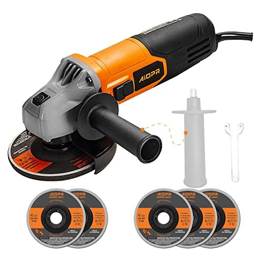 AIOPR - Amoladora angular de 500 W, 12000 rpm, 115 mm, herramienta de amoladora angular con 2 ruedas M14 para el amoldado/corte, bloqueo del árbol, incluye mango adicional y llave de brida