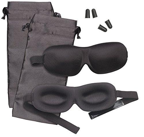 PEARL Schlafbrille: 2er-Set 3D-Schlafmasken mit Ohrstöpseln & Aufbewahrungstasche, schwarz (Schlafmaske mit Gehörschutz)