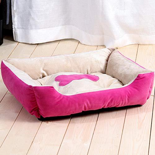 Cama Perro Gato Pequeño Cama Mascota Felpa Sofa Suave Cachorro Animales Domésticos Invierno, Cómoda y Lavable -Rosa wowo_80 * 60 CM