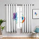 Eyelash Shading Insulated Curtain, Curtains 63 inch Length Abstract Colorful Eye with Artistic Lively Color Splashes Swirls Fantasy Creativity Privacy Protection Multicolor W72 x L63 Inch