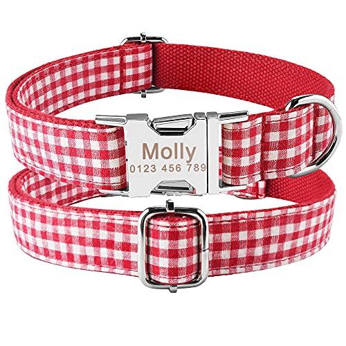 Collares para Perros pequeños, medianos y Grandes, Collares para Perros con Nombre Grabado Personalizado, Collar de Nailon Ajustable para Perros, Etiqueta de identificación Personalizada para c