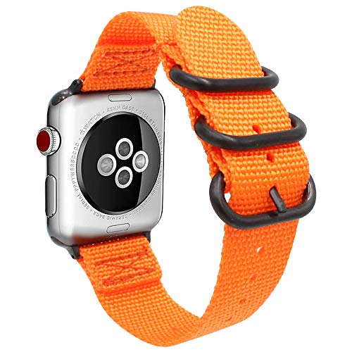 Gemony Uhrenarmband Männer Frauen Nylon iWatch 38mm 42mm Ersatz-Handgelenksschlaufe Robustes NATO Bandschnalle Kompatibel mit Apple Watch Serie(WBA-013H38, Orange, 38mm)