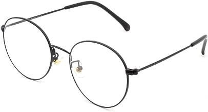 Cyxus Retro Round Blue Light Filter Glasses Vintage Anti Eyestrain Redness Metal Frame (8090T02, Matte Black)