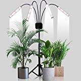 Grow Light with Stand,GHodec 200W Four-Head 336 LED Floor Plant Light for Indoor Plants,Tripod Stand Adjustable 15-48 in,4/8/12H Timer & 5 Dimmable Levels