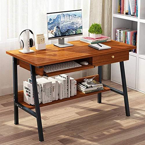 Elegante mesa de ordenador portátil de madera con bandeja de teclado de cajón de 2 capas para computadora de escritorio de escritorio para oficina en casa C 100 x 48 cm, C_100 x 48 cm