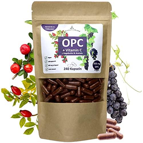 OPC Traubenkernextrakt - + Vitamin C - 240 vegane Kapseln -für 8 Monate - Laborgeprüftes OPC mit Hagebutte und Acerola in Deutschland verkapselt - 350 mg reines OPC je Tagesportion - Hoch dosiert