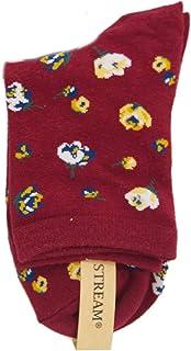 レディース 花 柄 クルー ソックス (婦人 靴下) 23-25cm