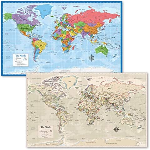 2 Pack World Map Poster Blue Ocean Antique Style World Map Chart Laminated 18 x 29 product image