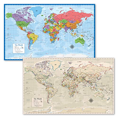 2 Pack - World Map Poster [Blue Ocean] & Antique Style World Map Chart (Laminated, 18' x 29')