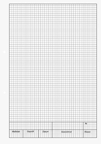 Brunnen 1042235 KIESER-Zeichenblock (A4, 25 Blatt, 5 mm kariert mit Rand, gelocht, 150g/m²)