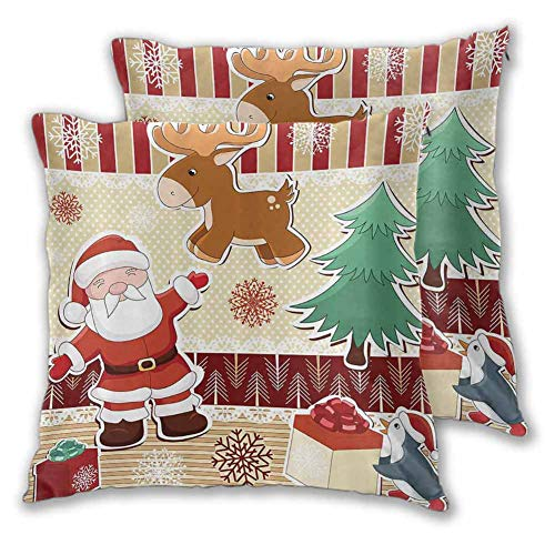 Christmas Decorations Collection Pillowcase Bedroom, 16 x 16 Inch Cute Santa with Reindeer and Penguin Toys Snow Celebration Kids Room Design Patterns for Sofa Bedroom Car Set of 2