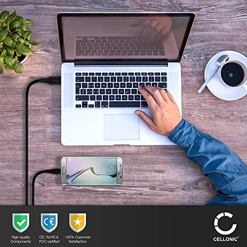 CELLONIC® USB Kabel 1m kompatibel mit JBL Charge 1,2,3, Flip 2,3,4, Go,2, Plus,Reflect Flow, Tune 120TWS,220TWS,500BT, Tuner, Clip 1, 2, 3 Ladekabel Micro USB auf USB A 2.0 Datenkabel1Aschwarz PVC