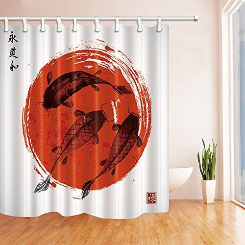 SRJ2018 Koi Carpas Dibujadas a Mano en Estilo japonés Tradicional Rojo Cortina Ducha Tela Baño 180X180 CM Rojo Negro
