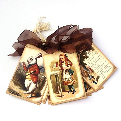 Alice in Wonderland Gift Tags - Vintage Wedding, Bridal and Baby Shower Favor Hang Tags - Set of 9