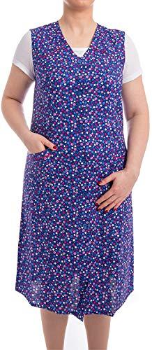 Tobeni Damen Kittelschürze Knopf-Kittel lang in 100% Baumwolle ohne Arm mit Taschen Farbe Design 31 Grösse 42