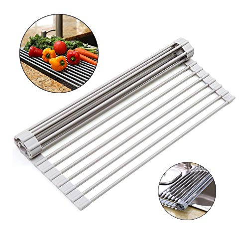 LLDH The Sink Magic Rolling Drain Rack Kitchen Dish Drying Drainer Effectively Washing Dishes and Fruits and Vegetables (33 * 33cm)
