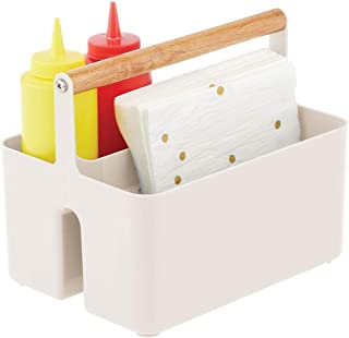 mDesign panier de rangement pour la cuisine – organiseur cuisine à 2 compartiments pour le plan de travail ou le réfrigéra...