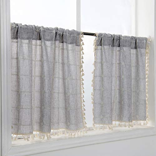 YoKii Boho Kitchen Curtains 36 Inch Length, Modern Farmhouse Cotton Linen Short Window Panel Country Gingham Tassel Cafe Curtains Semi-Transparent Small Tier Curtain Decor (Tiers - 24 x 36, Gray)