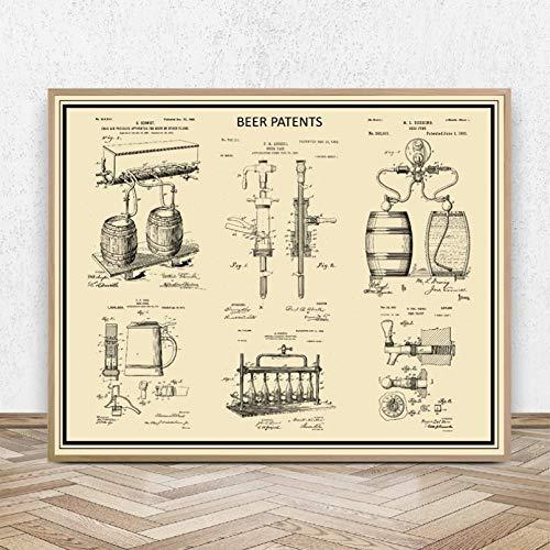 Amante De La Cerveza Regalo Impresiones De Patentes Cerveza Artesanal Taza De Stein Carteles Artísticos De Pared Para Elaboración De Cerveza Manija De Grifo Modelo Lienzo Pintura Decoración De Barra