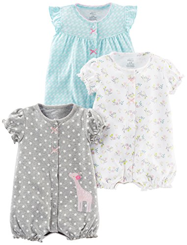Simple Joys by Carter's Baby Girls' 3-Pack Snap-up Rompers, Blue Swan/White Floral/Gray Dot, 12 Months