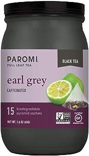 Paromi Tea Earl Grey Black Tea, Non-GMO, 15 Pyramid Tea Bags