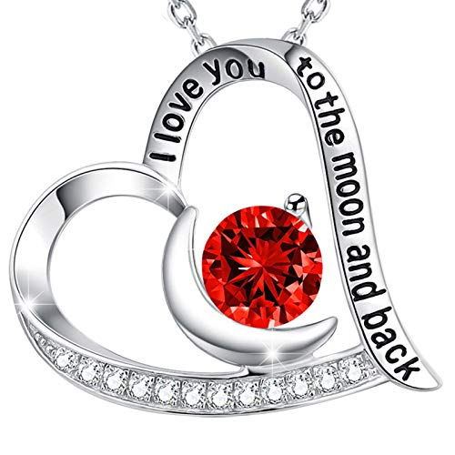 Birthday Gifts July Birthstone Jewelry for Women I Love You to the Moon and Back Ruby Necklace Mom Wife Sterling Silver Fine Jewelry