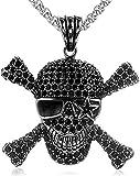 YANCONGHombres de Acero Inoxidable Collares Colgantes de Cadena Pirate Skull Rhinestone Punk Rock Hip Hop Cool para Hombre Niño Regalo de joyería de Moda