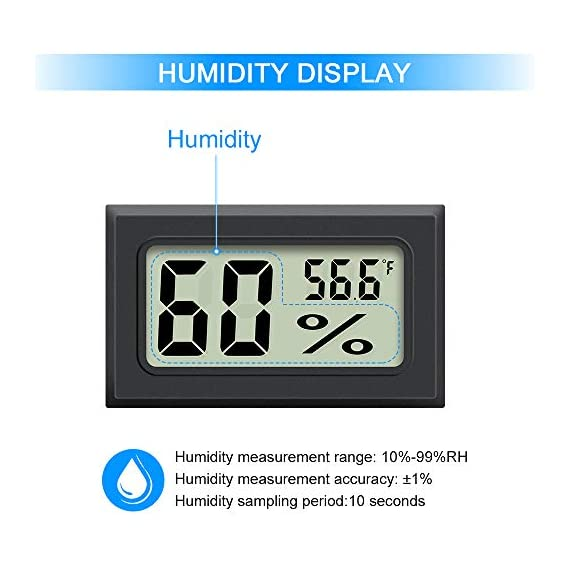 Mini Hygrometer Thermometer 2PCS Mini Digital Humidity Gauge, AikTryee Hygrometer Indoor Humidity Monitor, Temperature… 6 【EASY TO INSTALL】 Mini Digital Hygrometer Thermometer is Easy to know current temperature and humidity,Embedded opening size (1.81*1.06 inch) or fixed with double-sided tape. 【High Precision Display】 Hydrometer Temperature measurement accuracy: ±2℉; Humidity measurement accuracy: ±3%RH. 【WIDE TEMPERATURE TEST】Mini thermometer Temperature measuring range -58℉-158℉ ; Humidity measuring range 10%-99%RH.