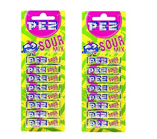 2 paquetes de 8 recambios de mezcla agria PEZ dispensador de caramelos Pez bolsa de golosinas 16...
