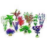 Mein HERZ 12 Piezas Artificial Aquatic Plants, Grandes Plantas de Acuario de PláStico Decoraciones Acuario de Peces,Vivid SimulacióN Vegetal Criatura Acuario Paisaje- TamañOs Surtidos Colores Formas